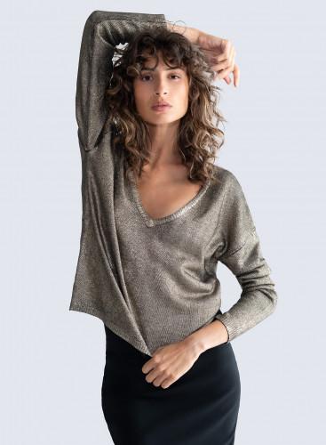 V-neck & back shimmering Sweater