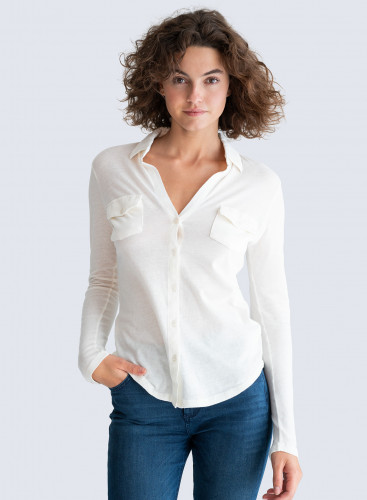 Clara Buttoned V Blouse