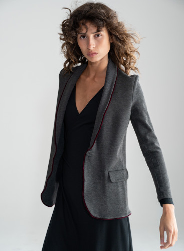 Milano jacket 1 button with velvet piping