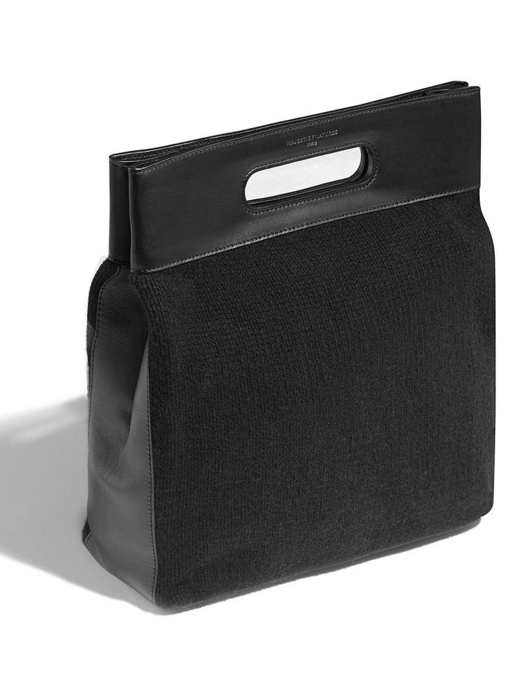 The 'Onyx' Leather and Cashmere Bag