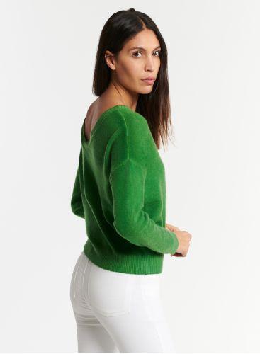 Spray print front & back V-neck sweater
