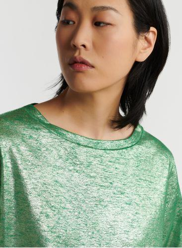 Shimmering boat neck T-shirt