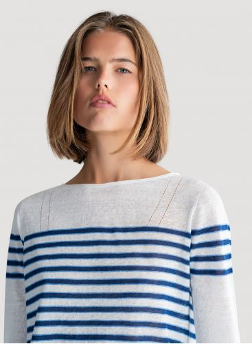 3/4 sleeves boat neck sweater