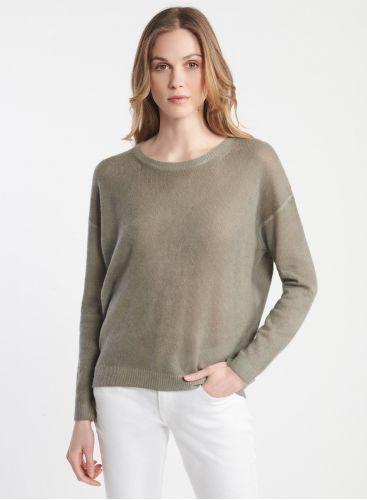 Round neck spray print sweater
