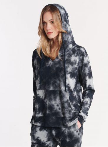 Tie-dye print fleece hoodie