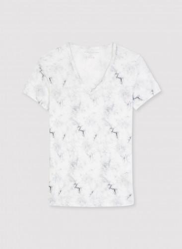Tie & dye print V-neck T-shirt
